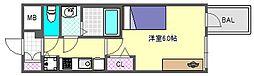 プレサンス心斎橋クォーレ 15階1Kの間取り