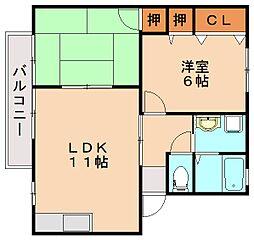 福岡県飯塚市伊川の賃貸アパートの間取り