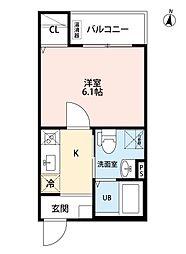 名古屋市営上飯田線 上飯田駅 徒歩10分の賃貸アパート 3階1Kの間取り