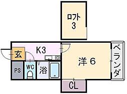 大阪府八尾市東山本新町1丁目の賃貸アパートの間取り