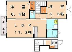 ルミエールパル新宮 E[2階]の間取り