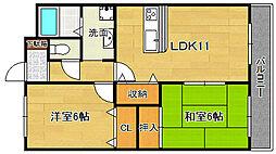 大阪府摂津市東別府1丁目の賃貸マンションの間取り