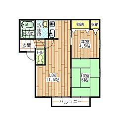 ピースガーデンワカゾノ[1階]の間取り