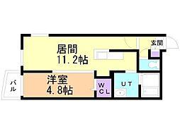 仮)サリーレ新札幌B 2階1LDKの間取り