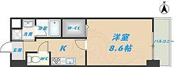 スタシオン俊徳道 5階1Kの間取り