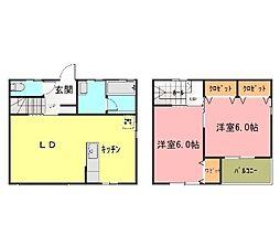[テラスハウス] 茨城県つくばみらい市紫峰ヶ丘2丁目 の賃貸【茨城県 / つくばみらい市】の間取り
