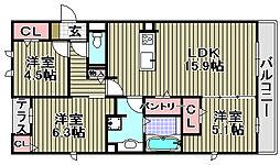 (仮称)D−room和泉市池上[2C号室]の間取り
