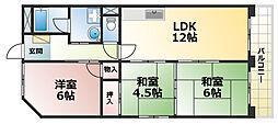 兵庫県神戸市灘区曾和町2丁目の賃貸マンションの間取り