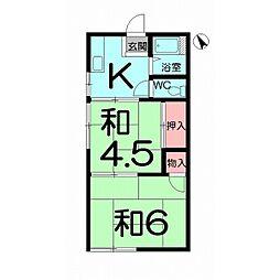JR高崎線 宮原駅 徒歩7分の賃貸アパート 1階2Kの間取り