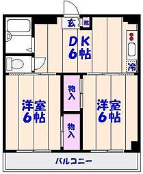 津賀マンション[602号室]の間取り