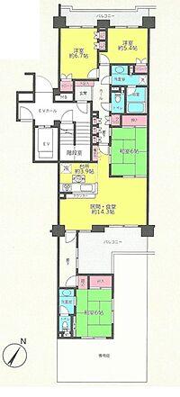 間取り(4LDK 間取り 専有面積106.71平米 建物21.93平米)