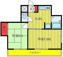 都営三田線 板橋区役所前駅 徒歩3分の賃貸マンション 3階2Kの間取り