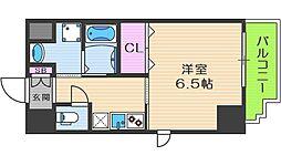 アール大阪グランデ 7階1Kの間取り