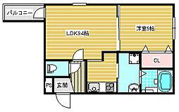 大阪府大阪市住之江区北加賀屋1丁目の賃貸アパートの間取り