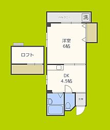 ロータリー49 5階1DKの間取り