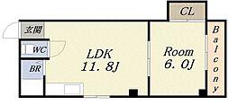 エスタイル港晴[2階]の間取り