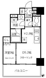 品川タワーレジデンス 9階1DKの間取り