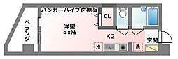 コート・ダジュール 5階1Kの間取り