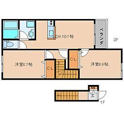 奈良県香芝市北今市の賃貸アパートの間取り
