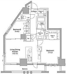 東急東横線 都立大学駅 徒歩11分の賃貸マンション 8階2LDKの間取り