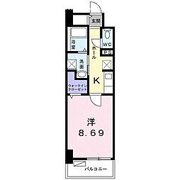 クラール上福岡 6階1Kの間取り