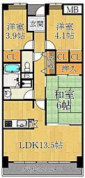 アバンティ御代開[5階]の間取り