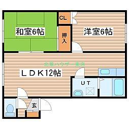 北海道札幌市東区北三十三条東6丁目の賃貸アパートの間取り
