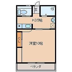 hajime 2階ワンルームの間取り