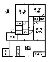 コーポユーカリ12号館[2階]の間取り