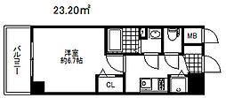 プレサンスコウベシフォン 9階1Kの間取り