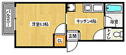 京都府京都市北区小山上板倉町の賃貸アパートの間取り