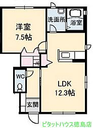 徳島県徳島市北田宮3の賃貸アパートの間取り