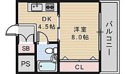 コーポイン美章園&河堀口[705号室]の間取り