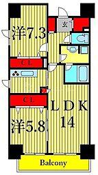 東京メトロ東西線 南砂町駅 徒歩15分の賃貸マンション 13階2LDKの間取り