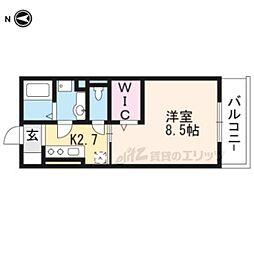 近鉄京都線 上鳥羽口駅 徒歩4分の賃貸マンション 2階1Kの間取り