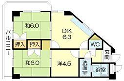 土山ヤングコーポ[106号室]の間取り