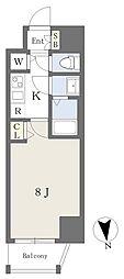 アースマンズ大阪城 4階1Kの間取り