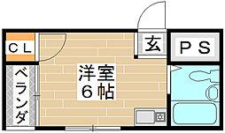 京阪本線 滝井駅 徒歩7分の賃貸アパート 1階ワンルームの間取り