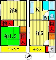 [テラスハウス] 千葉県松戸市西馬橋4丁目 の賃貸【千葉県 / 松戸市】の間取り