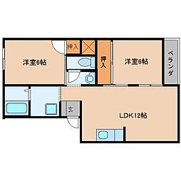 近鉄大阪線 桜井駅 徒歩5分の賃貸アパート 3階2LDKの間取り