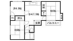 福岡県福岡市西区大字田尻の賃貸アパートの間取り