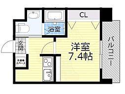 Osaka Metro今里筋線 蒲生四丁目駅 徒歩4分の賃貸マンション 6階1Kの間取り