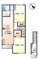 笠間市美原新築アパート[201号室号室]の間取り