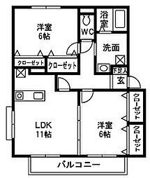 メルヴェーユ松代B[1階]の間取り