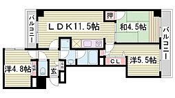 クレメント神戸大倉山[3階]の間取り