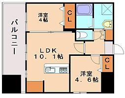 ランドマーク和白[9階]の間取り