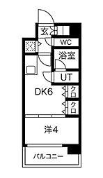 S-RESIDENCE淀屋橋 14階1DKの間取り
