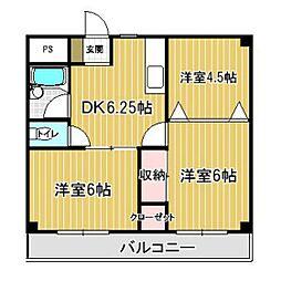 築山コーポ[303号室]の間取り