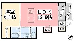 フィロス 1階1LDKの間取り