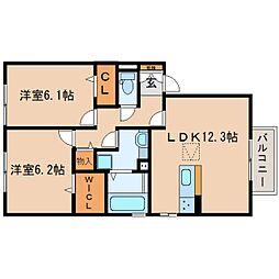 JR東海道本線 静岡駅 バス20分 西脇下下車 徒歩3分の賃貸アパート 2階2LDKの間取り